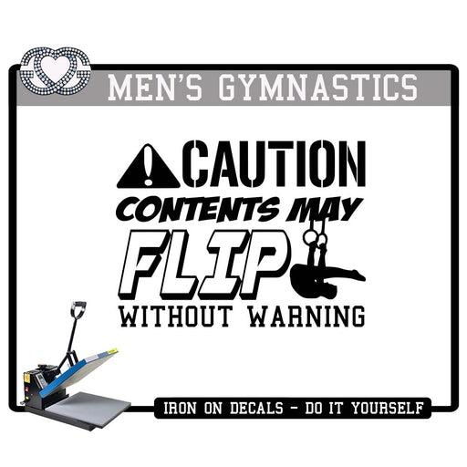 Men's Gymnastics Iron On Decal Caution