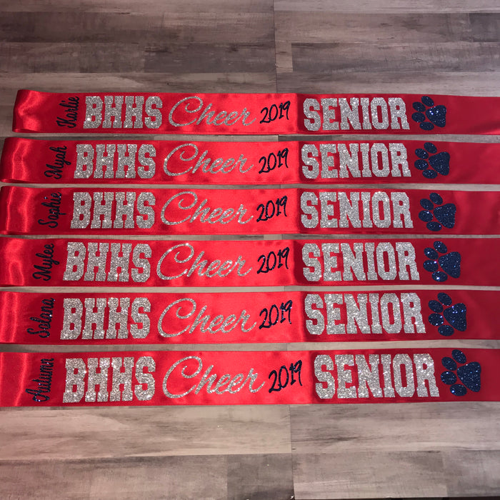 Senior Sash Script Cheer With Mascot and School Letters
