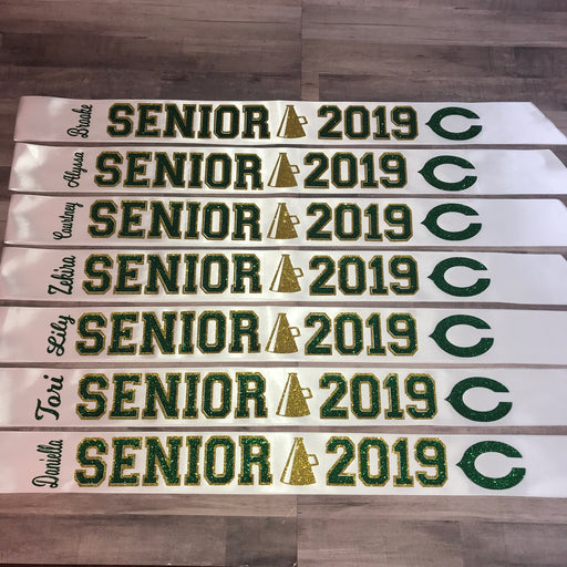 Senior Sash Cheer With Outline Megaphone and Mascot