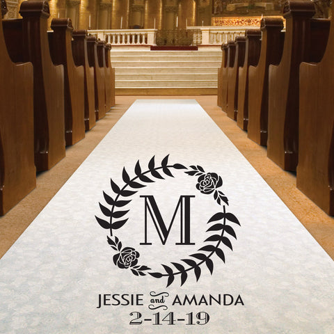 Wedding Aisle Runner - Monogram Initial Wreath With Names