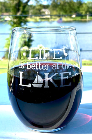 Stemless wine glass - Life is better at the lake