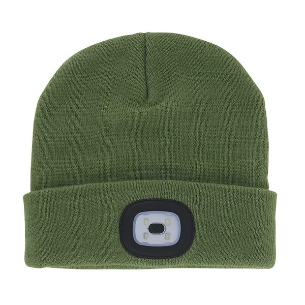 Night Scout Adult USB Rechargeable LED Beanie Hat - Olive