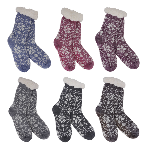 Heather Blend Snowflakes - Knit Thermal Slipper Socks