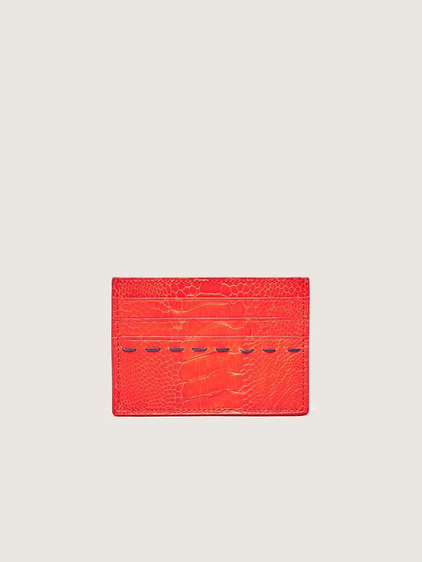 Card Holder - Ostrich Shin Chilli Red