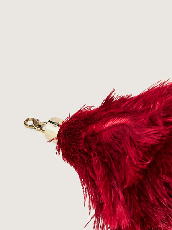 Ostrich Feather Charm - Scarlet Red
