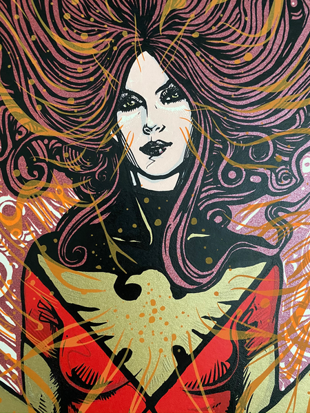 Details for Marvel's Dark Phoenix by Malleus. Limited-edition screenprint poster.