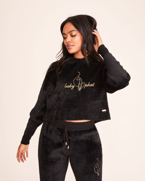 EMBROIDERED FUZZY PULLOVER - Black