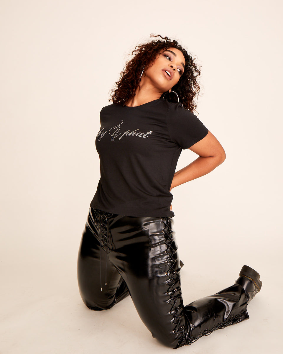 Short sleeved black modal t-shirt with Baby Phat rhinestone logo at the front. Soft, stretchy fabric and boxy fit.