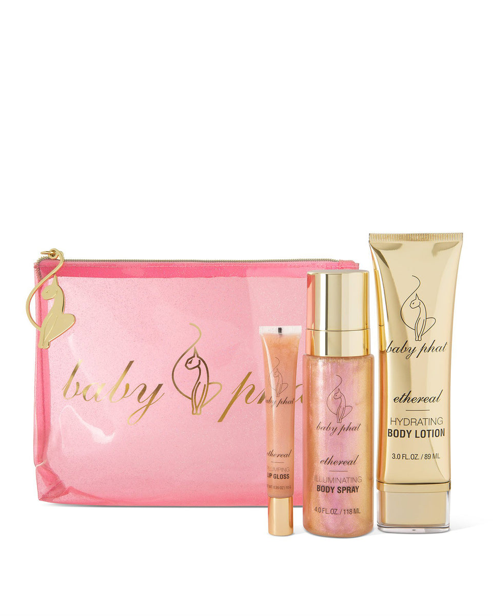 Baby Phat Beauty Shimmer Dreams Gift Set in Ethereal. Features metallic gold accents and cat logos throughout.