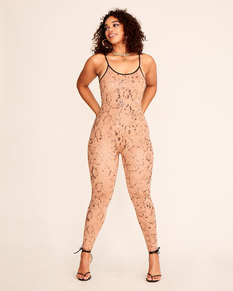 Nude python print stretch catsuit with Baby Phat metal logo at the back Stretch fabric and tight fit. Scooped neckline.