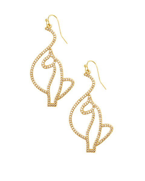 Baby Phat Jewelry Diamond Kitty Drop Earrings feature crystal kitty logos and gold metal finish.