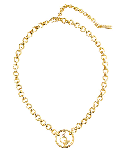 Baby Phat Kitty Logo Choker features gold metal finish and loop chain links. Cat circle hardware at the front.