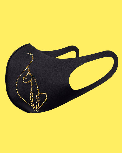 Baby Phat crystal logo face mask in black features a gold crystal cat logo at the front.