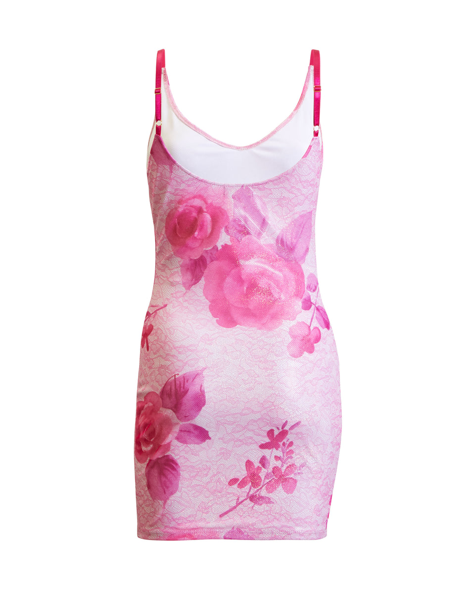 Baby Phat printed pink dress and scarf. Dress features pink floral print with cat logos throughout.