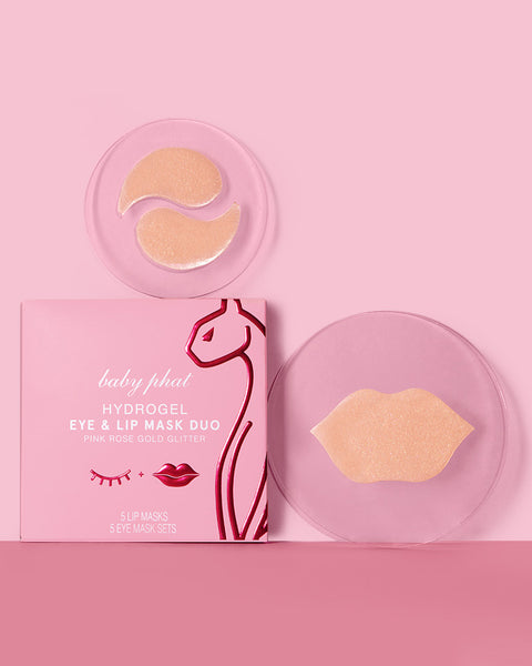 Baby Phat Beauty Hydrogel Eye & Lip Mask Duo in Rose Gold Glitter. Pink exterior carton with cat logo on front.