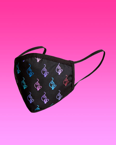 Baby Phat face mask features elasticized ear loops and multicolor logo cat print all over.