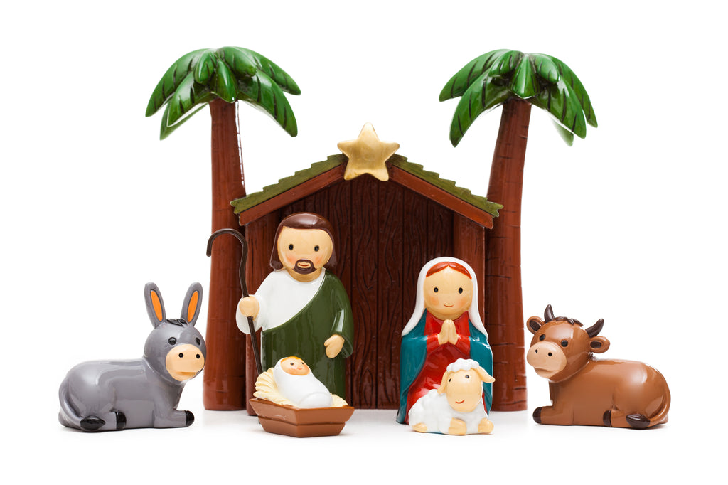 Small Nativity Set With Palms - 7 piece