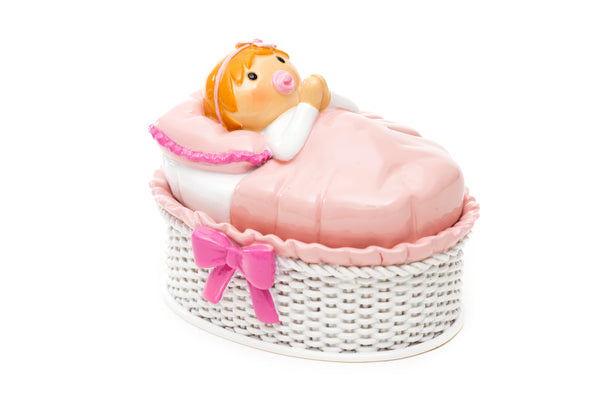 Keepsake Box (White Basket) Baby Girl