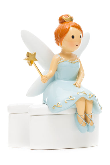 Tooth Fairy Seating On Tooth Box - Blue Dress