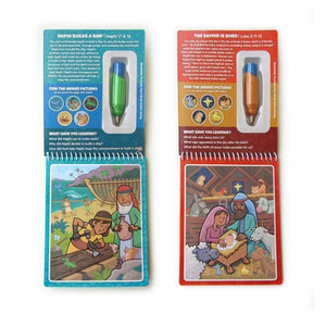Two Pack Book of Mormon & New Testament Aqua Brush Activity Books, Reusable Travel Activity