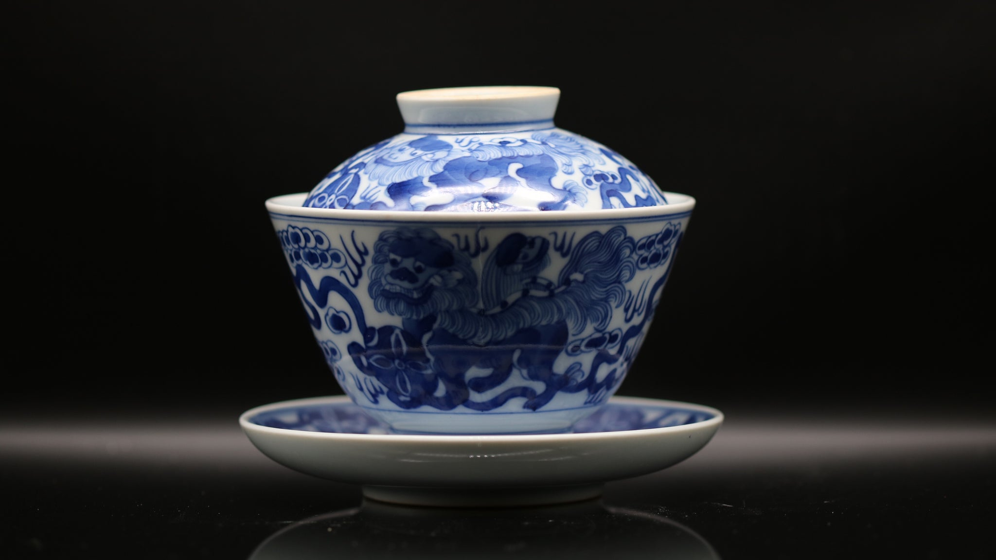 Han Yao Blue and White Kirin 'Auspicious Lion' Gaiwan