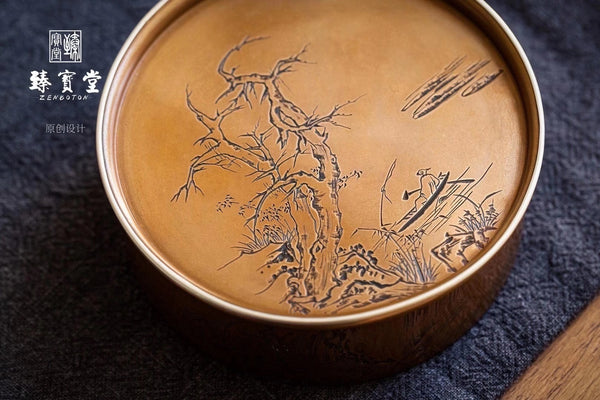 Wrap silver carved tea box, fishing alone.