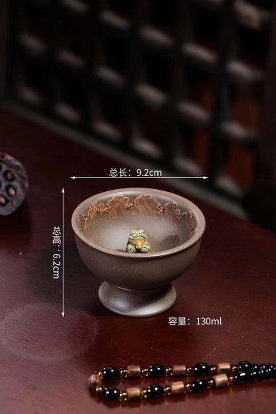 Yixing Qing Hui Duan Ni handmade, Praying frog teacup(祈祷青蛙)