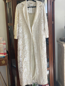 Vintage 1970s White Lacey Coat/ Robe