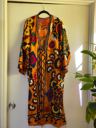 1980s Orange Robe - Beautiful embroidery - stay at home in style!