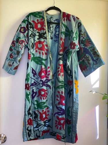 1980s Magical Blue Robe - Beautiful embroidery - stay at home in style!