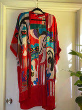 Load image into Gallery viewer, Red Vintage Hand Painted Silk Kimono