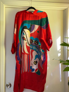 Red Vintage Hand Painted Silk Kimono