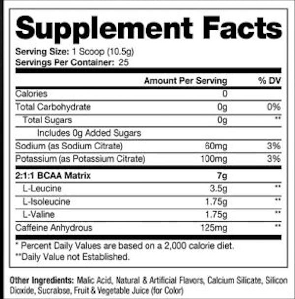 ProSupps HydroBCAA+ Energy Facts