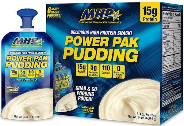 MHP Power Pouches Pudding 6 Pouches, 4 oz