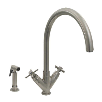 "Luxe+ Dual Handle Faucet with Gooseneck Swivel Spout, ""V"" Cross Style Handles and Solid Brass Side Spray"