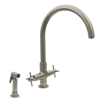 Luxe+ Dual Handle Faucet with Gooseneck Swivel Spout, Cross Style Handles and Solid Brass Side Spray