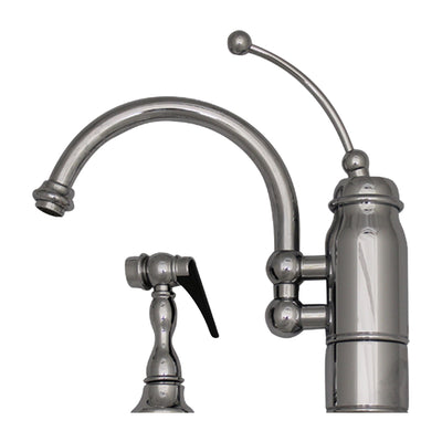 New Horizon Single Handle Kitchen Faucet with Curved Extended Stick Handle, Curved Swivel Spout and Side Spray