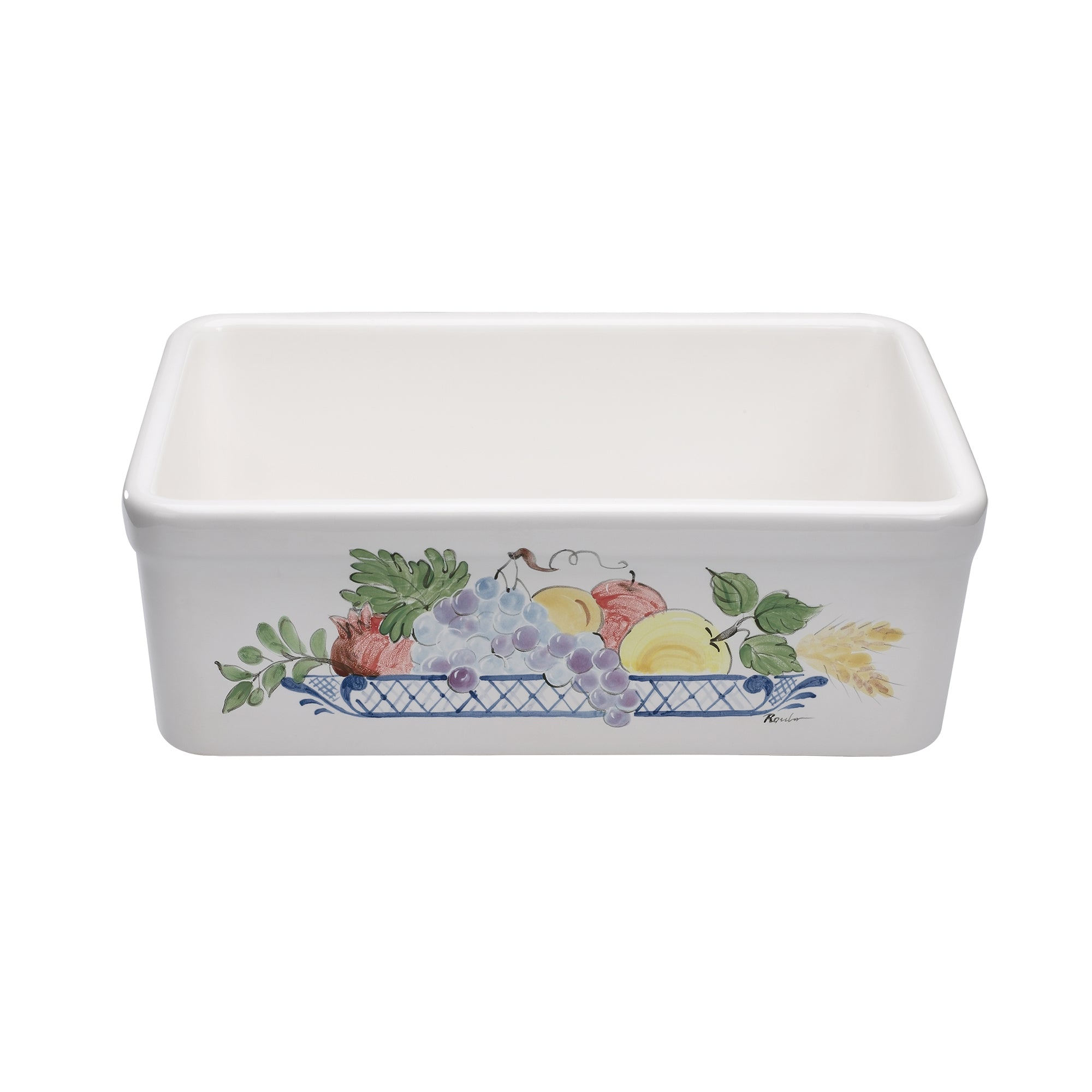 "26"" Single bowl hand-painted fireclay kitchen sink"