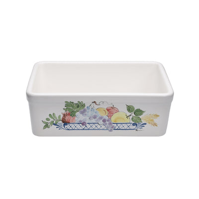 "24"" Single bowl hand-painted fireclay kitchen sink"