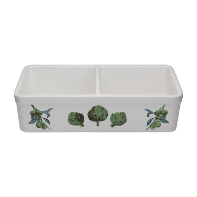 "32"" Double bowl hand-painted fireclay kitchen sink"