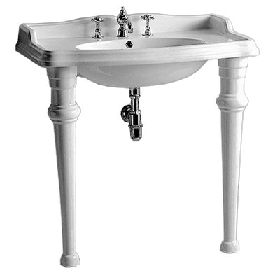 "Isabella Collection 35"" Rectangular Console with integrated oval bowl, backsplash, ceramic leg support and chrome overflow"