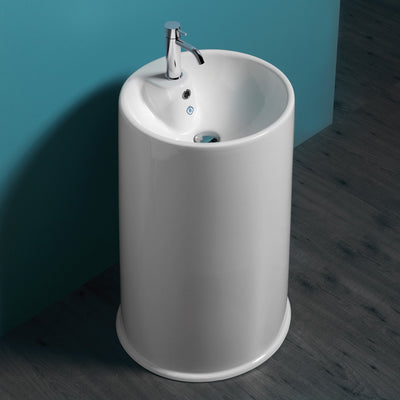 Britannia Freestanding Cylindrical Bathroom Basin with Single Faucet Hole Drill