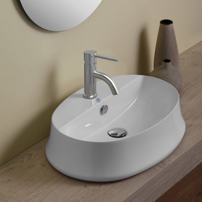 Britannia Oval Above Mount Basin with Single Faucet Hole Drill
