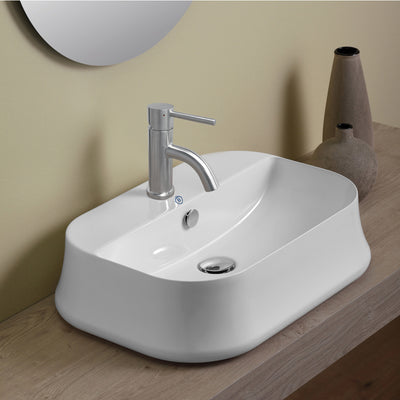 Britannia Rectangular Above Mount Basin with Single Faucet Hole Drill