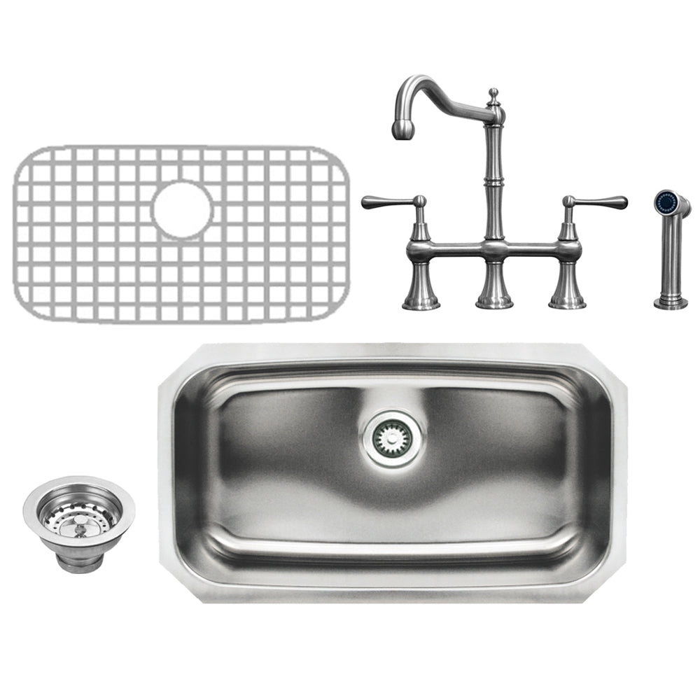 Noah Collection Kitchen 4pc Sink/Faucet Set