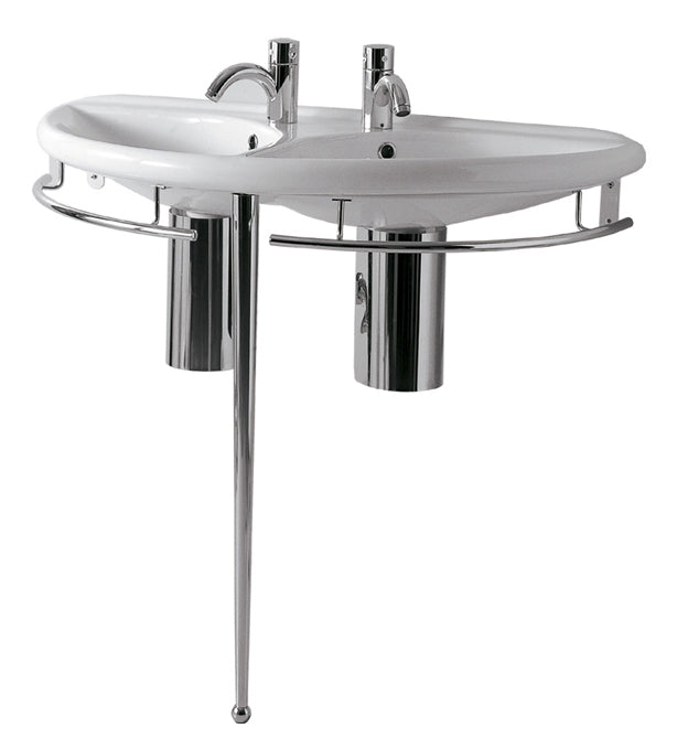 "Isabella Collection 38"" Semi-Circular Double Basin China Console with Chrome Overflow, Polished Chrome Towel Rails and Leg Support"