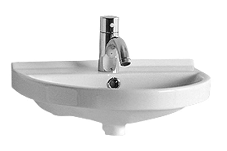 "Isabella Collection 17"" Small U-Shaped Wall Mount Basin  with Chrome Overflow and Rear Center Drain"