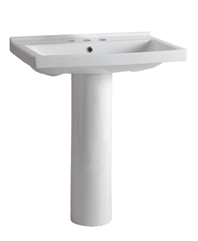 "Isabella Collection 23"" Tubular Pedestal Sink with Rectagular Basin and Chrome Overflow"