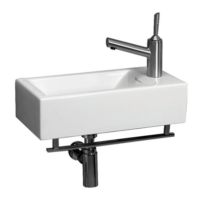"Isabella Collection 19"" Small Wall Mount Basin with Crome Towel Bar and Center Drain"