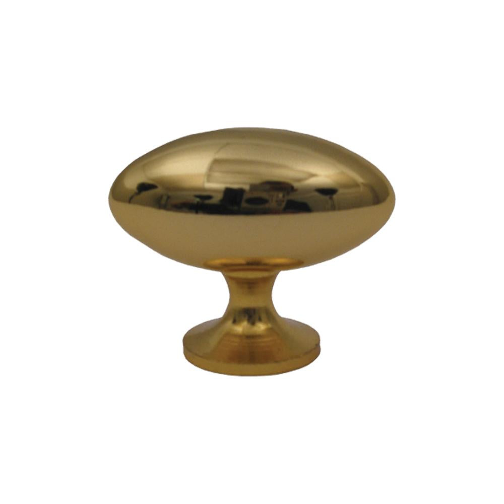 Oblong-shaped knob made of solid brass.
